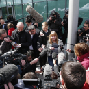 Chair of the Hillsborough Families Support Group, Margaret Aspinall, speaks to the media outside the Hillsborough Inquest in Warrington, England, Tuesday April 26, 2016. The 96 Liverpool soccer fans who died in the Hillsborough Stadium disaster were
