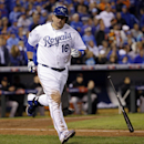 Kansas City Royals' Billy Butler tosses his bat after striking out during the sixth inning of Game 7 of baseball's World Series against the San Francisco Giants Wednesday, Oct. 29, 2014, in Kansas City, Mo The Associated Press