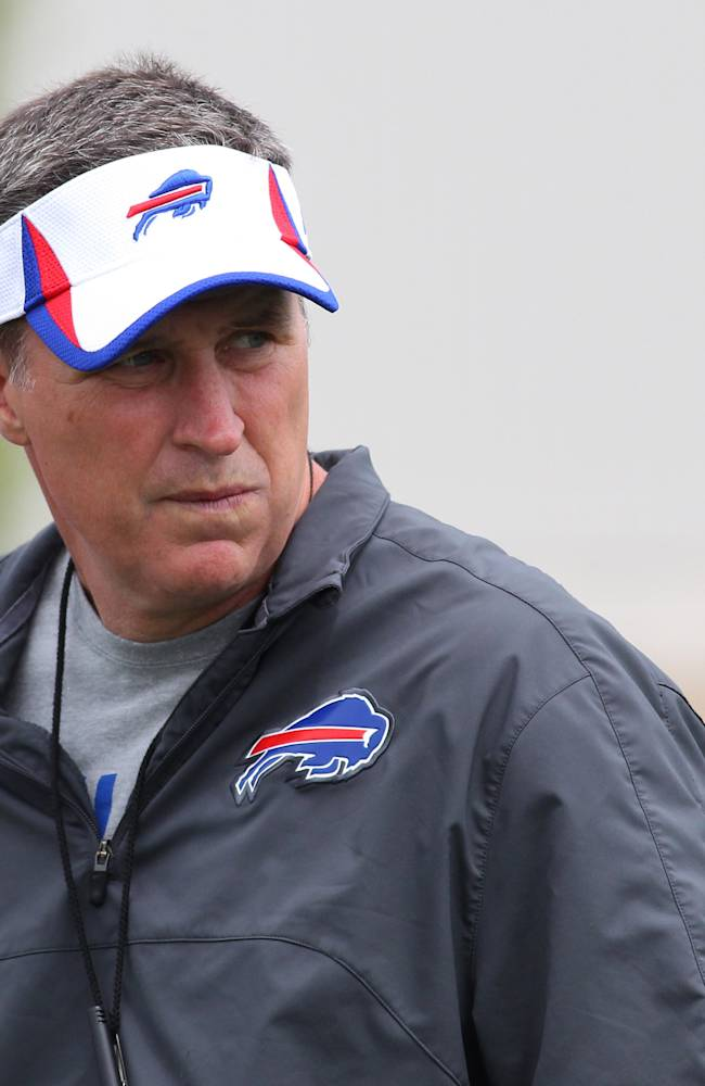 In this July 29, 2013 file photo, Buffalo Bills head coach Doug Marrone watches the action during their NFL football training camp in Pittsford, N.Y., Monday, July 29, 2013. Marrone credits Sean Payton for furthering his career by hiring him as an assistant in New Orleans in 2006. On Sunday, Oct. 27, the Bills travel to play the Saints in Marrone's first chance to face his mentor