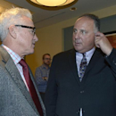 Tampa Bay Rays manager Joe Maddon , left, chats with Los Angeles Angels manager Mike Scioscia at baseball's winter meetings in Lake Buena Vista, Fla., Wednesday, Dec. 11, 2013 The Associated Press