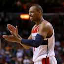 MIAMI, FL - DECEMBER 19: Paul Pierce #34 of the Washington Wizards reacts to winning a game against the Miami Heat at American Airlines Arena on December 19, 2014 in Miami, Florida. (Photo by Mike Ehrmann/Getty Images)