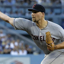 Cleveland Indians starting pitcher Justin Masterson throws to the Los Angeles Dodgers during the first inning of a baseball game in Los Angeles, Tuesday, July 1, 2014. (AP Photo/Chris Carlson)