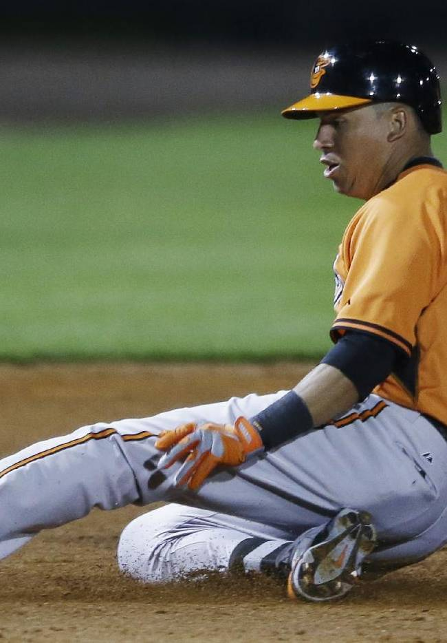 Baltimore Orioles' Quintin Berry beats the throw and slides into third for a triple during the eighth inning of a spring exhibition baseball game against the Pittsburgh Pirates in Bradenton, Fla., Thursday, March 20, 2014