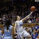 Duke's Haley Peters (33) drives to the basket as North Carolina's Tierra Ruffin-Pratt (44) watches during the first half of an NCAA college basketball game in Durham, N.C., Sunday, March 3, 2013. (AP Photo/Gerry Broome)