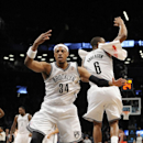 Brooklyn Nets' Paul Pierce (34) and Alan Anderson (6) celebrate Pierce's three-pointer against the Toronto Raptors that put the Nets in the lead 97-94 in the second half of an NBA basketball game on Monday, March 10, 2014 at Barclays Center in New York
