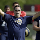 St. Louis Rams head coach Jeff Fisher calls for his team to huddle up during training camp at the NFL football team's practice facility Tuesday, July 29, 2014, in St. Louis The Associated Press