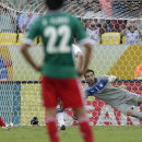 Mexico's Javier Hernandez, left, scores his side's first goal from the penalty spot past Italy's Gianluigi Buffon during the soccer Confederations Cup group A match between Mexico and Italy at Maracana stadium in Rio de Janeiro, Brazil, Sunday, June 16, 2013. (AP Photo/Felipe Dana)