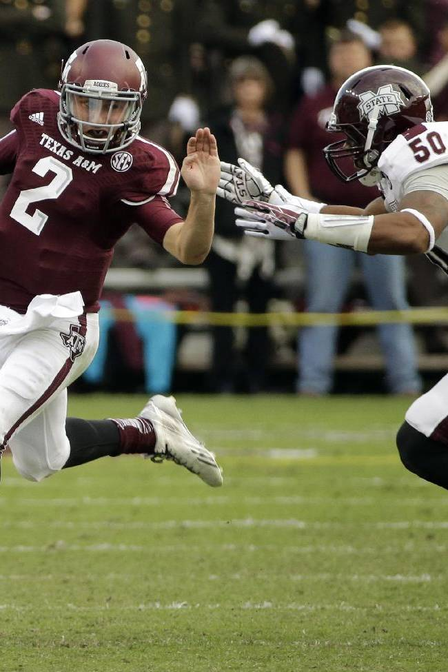 Texas A&M quarterback Johnny Manziel (2) breaks away from Mississippi State linebacker Benardrick McKinney (50) as he rushes for a gain during the second quarter of an NCAA college football game Saturday, Nov. 9, 2013, in College Station, Texas