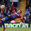 Crystal Palace's Dwight Gayle attempts an overhead shot at goal during their English Premier League soccer match against Everton at Selhurst Park, London, Saturday, Jan. 31, 2015