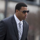 FILE- In this Feb. 9, 2015, file photo, Carolina Panthers' defensive end Greg Hardy arrives at the Mecklenburg County Courthouse on the first day of his domestic violence appeal trial in Charlotte, N.C., Monday, Feb. 9, 2015. Hardy is seeking immediate reinstatement from the NFL after a federal judge cleared way for Adrian Peterson's return to the league. Hardy's agent Drew Rosenhaus said Thursday, Feb. 26, 2015,