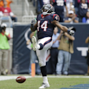 Houston Texans' Ben Tate celebrates a touchdown against the New England Patriots during the first quarter of an NFL football game Sunday, Dec. 1, 2013, in Houston The Associated Press