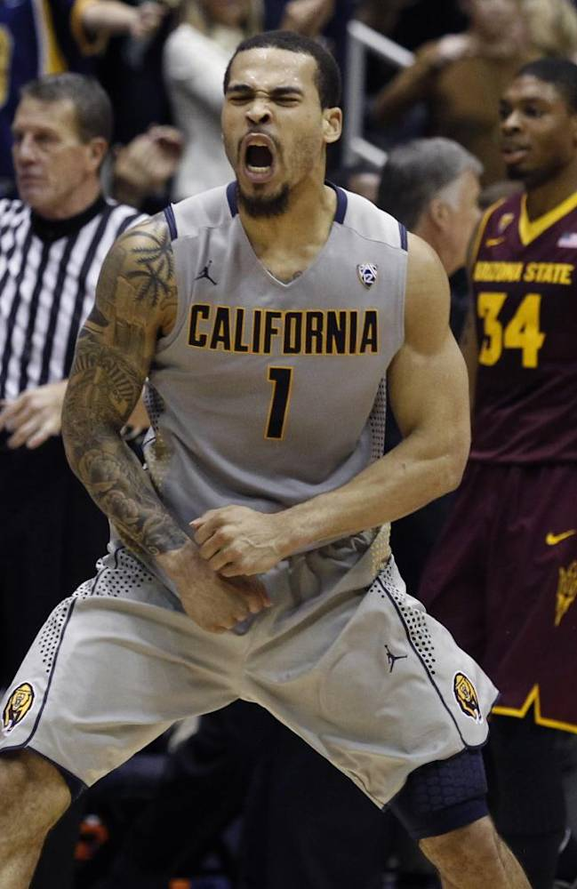 California's Justin Cobbs reacts after sinking a basket late in the second half of an NCAA college basketball game against Arizona State, Wednesday, Jan. 29, 2014 in Berkeley, Calif