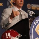 Alabama Coach Nick Saban speaks to the media at the Southeastern Conference NCAA college football media days in Hoover, Ala. on Thursday, July 19, 2012. (AP Photo/Butch Dill)