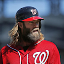 In this Sept. 14, 2014, file photo, Washington Nationals' Jayson Werth looks on during the first inning of the baseball game against the New York Mets at Citi Field in New York. Werth has pleaded guilty to reckless driving and been sentenced to five days