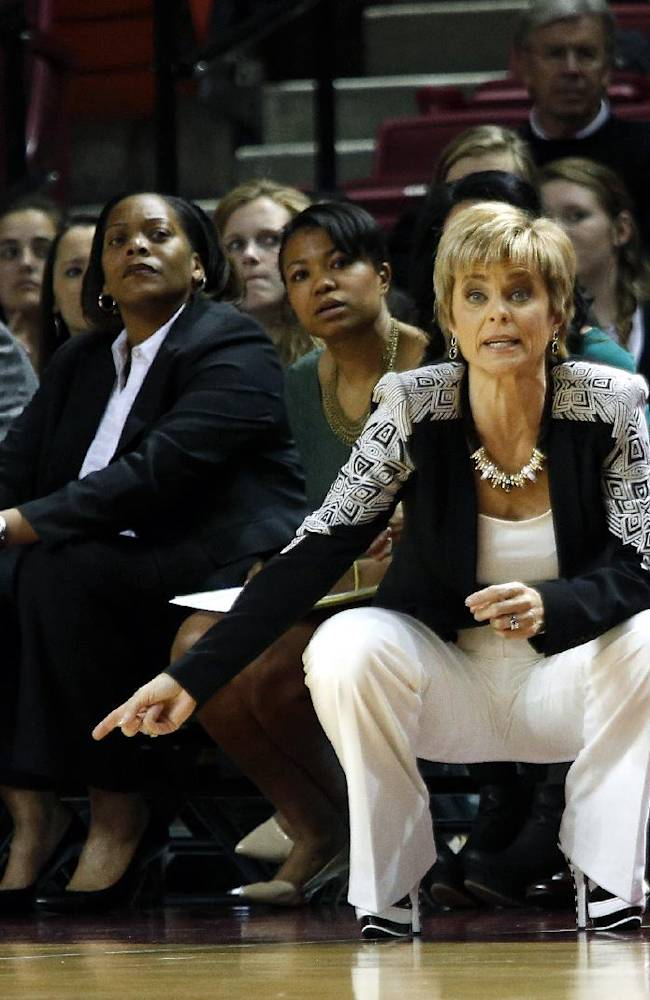 Baylor head coach Kim Mulkey yells to her players during the first half of an NCAA college basketball game in Norman, Okla., Feb. 3, 2014
