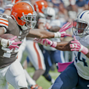 Cleveland Browns running back Ben Tate (44) stiff-ams Tennessee Titans inside linebacker Avery Williamson (54) during the Titans' 29-28 loss to the Cleveland Browns on Sunday, Oct. 5, 2014, at LP Field in Nashville, Tenn The Associated Press