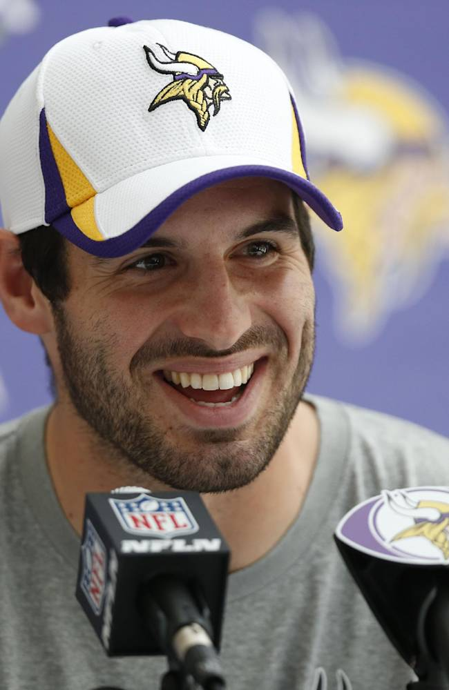 Minnesota Vikings' quarterback Christian Ponder speaks to the media during a press conference at the Grove Hotel in Watford, north London, Wednesday, Sept. 25, 2013. Vikings play Pittsburgh Steelers on Sunday in a NFL regular season football game at Wembley Stadium  in London