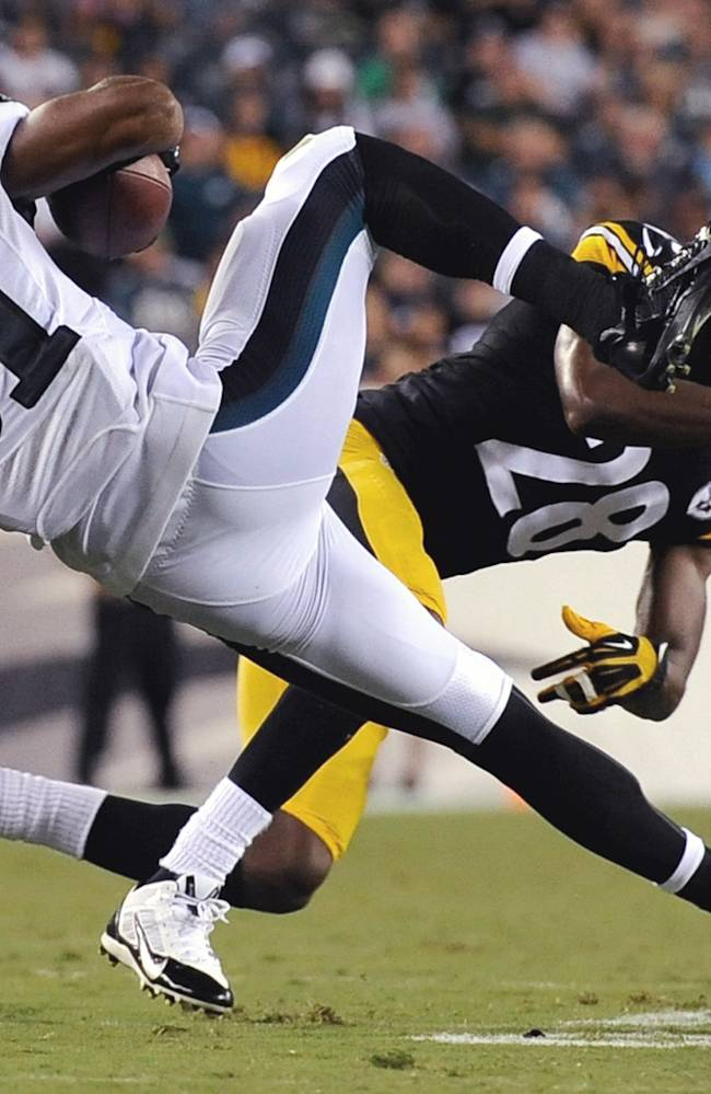 Philadelphia Eagles' Jordan Matthews (81) is tackled by Pittsburgh Steelers' Cortez Allen (28) during the first half of an NFL preseason football game, Thursday, Aug. 21, 2014, in Philadelphia