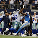 Dallas Cowboys outside linebacker Anthony Hitchens (59) is hit in the back by a pass from Detroit Lions quarterback Matthew Stafford (9), intended for Detroit Lions tight end Brandon Pettigrew (87), during the fourth quarter of an NFL wildcard playoff foo