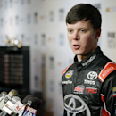 Erik Jones talks to reporters at NASCAR media day at Daytona International Speedway, Thursday, Feb. 12, 2015, in Daytona Beach, Fla. (AP Photo/John Raoux)