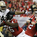 Atlanta Falcons quarterback Matt Ryan (2) gets the pass of as New Orleans Saints defensive end Cameron Jordan (94) moves in during the first half of an NFL football game, Sunday, Sept. 7, 2014, in Atlanta The Associated Press