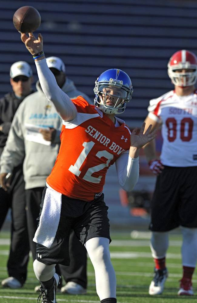 South Squad quarterback David Fales, of San Jose State, throws a pass during Senior Bowl college football practice at Ladd-Peebles Stadium, Thursday, Jan. 23, 2014, in Mobile, Ala