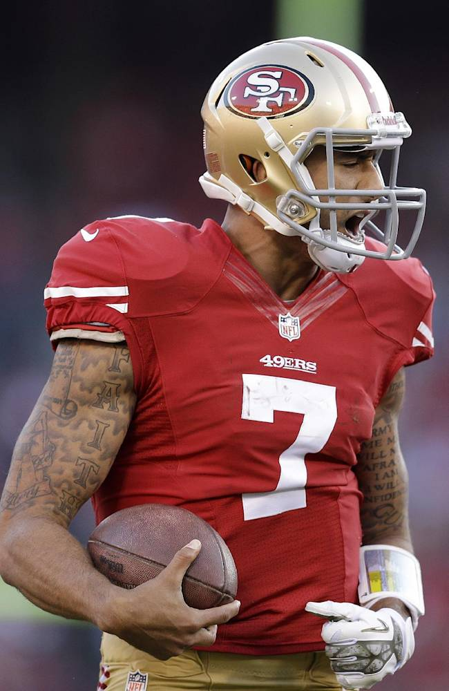 San Francisco 49ers quarterback Colin Kaepernick (7) reacts after being sacked by Carolina Panthers middle linebacker Luke Kuechly during the fourth quarter of an NFL football game in San Francisco, Sunday, Nov. 10, 2013. The Panthers won 10-9