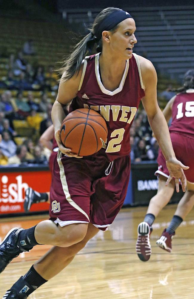Denver University's Alison Janecek drives with the ball during the first half of an NCAA college basketball game against Colorado, in Boulder, Colo., Thursday Dec. 12, 2013