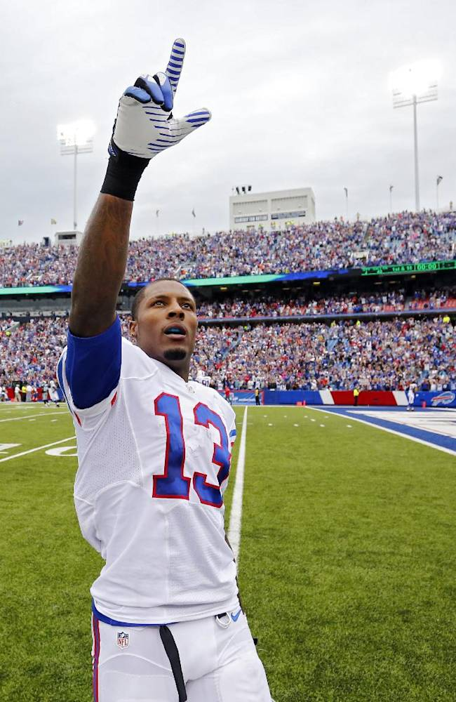 Buffalo Bills wide receiver Steve Johnson points to fans after a 24-23 win over the Carolina Panthers in an NFL football game Sunday, Sept. 15, 2013, in Orchard Park, N.Y. Johnson's caught a 2-yard touchdown pass with two seconds remaining to give the Bills their first win of the season