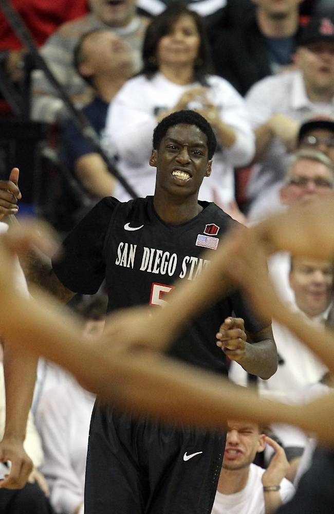 San Diego State's Dwayne Polee II reacts after missing a dunk during the second half of an NCAA college basketball game against UNLV on Wednesday, March 5, 2014, in Las Vegas. San Diego State defeated UNLV 73-64