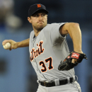 Detroit Tigers starting pitcher Max Scherzer pitches during the first inning of a baseball game against the Los Angeles Dodgers in Los Angeles, Tuesday, April 8, 2014 The Associated Press