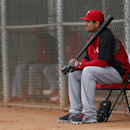 Cincinnati Reds' Joey Votto waits to bat during spring training baseball practice in Goodyear, Ariz., Tuesday, Feb. 25, 2014 The Associated Press