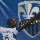 Montreal Impact's Hassoun Camara celebrates after scoring against the San Jose Earthquakes during first-half CONCACAF champions league soccer game action in Montreal, Wednesday, Aug. 7, 2013. (AP Photo/The Canadian Press, Graham Hughes)