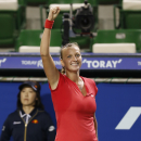 Petra Kvitova of the Czech Republic reacts after winning over Venus Williams of the United States during their semi-final match of the Pan Pacific Open tennis tournament in Tokyo, Friday, Sept. 27, 2013. (AP Photo/Koji Sasahara)