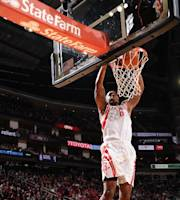 HOUSTON, TX - JANUARY 18: Terrence Jones #6 of the Houston Rockets dunks against the Milwaukee Bucks on January 18, 2014 at the Toyota Center in Houston, Texas. (Photo by Bill Baptist/NBAE via Getty Images)