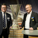 David Harrison, left, Head of Football Operations and Club Secretary of British soccer team Everton and Fredy Bickel, right, sport manager of Switzerland's soccer team BSC Young Boys attend the draw of the round of 32 of the UEFA Europa League 2014/15 at