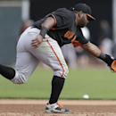 San Francisco Giants third baseman Pablo Sandoval stops a ground ball during a spring training baseball practice Sunday, Feb. 23, 2014, in Scottsdale, Ariz The Associated Press