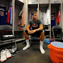 Blake Griffin #32 of the Los Angeles Clippers sits in the locker room prior to the game against the Golden State Warriors in Game Four of the Western Conference Quarterfinals at Oracle Arena on April 27, 2014 in Oakland, California. (Photo by Noah Graham/NBAE via Getty Images)