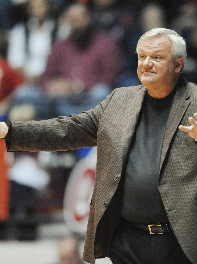 Mercer coach Bob Hoffman gestures during an NCAA college basketball game against Mississippi in Oxford, Miss., on Sunday, Dec. 22, 2013. Mercer won 79-76