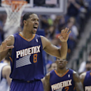 Phoenix Suns forward Channing Frye (8) reacts to a call against his team during the second half of an NBA basketball game against the Dallas Mavericks, Saturday, April 12, 2014, in Dallas. The Mavericks won 101-98 The Associated Press