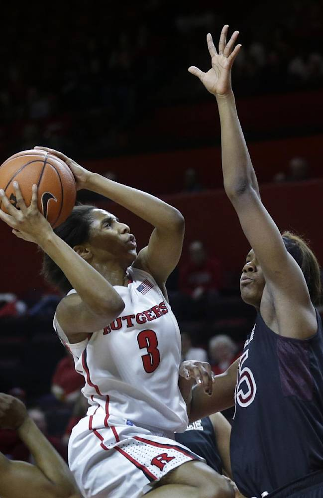 Rutgers guard Tyler Scaife (3) takes a shot against Temple defender Safiya Martin (35) during the first half of an NCAA college basketball game Wednesday, Feb. 26, 2014, in Piscataway, N.J