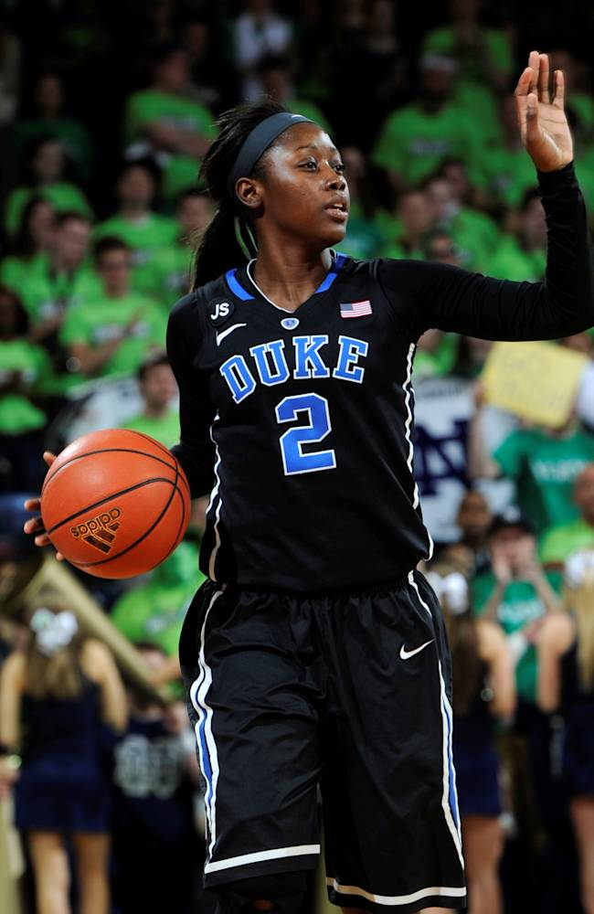 Duke guard Alexis Jones calls a play in an NCAA college basketball game with Duke Sunday, Feb. 23, 2014 in South Bend, Ind