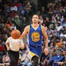 MEMPHIS, TN - MARCH 27: Stephen Curry #30 of the Golden State Warriors brings the ball up court against the Memphis Grizzlies on March 27, 2015 at FedExForum in Memphis, Tennessee. (Photo by Joe Murphy/NBAE via Getty Images)