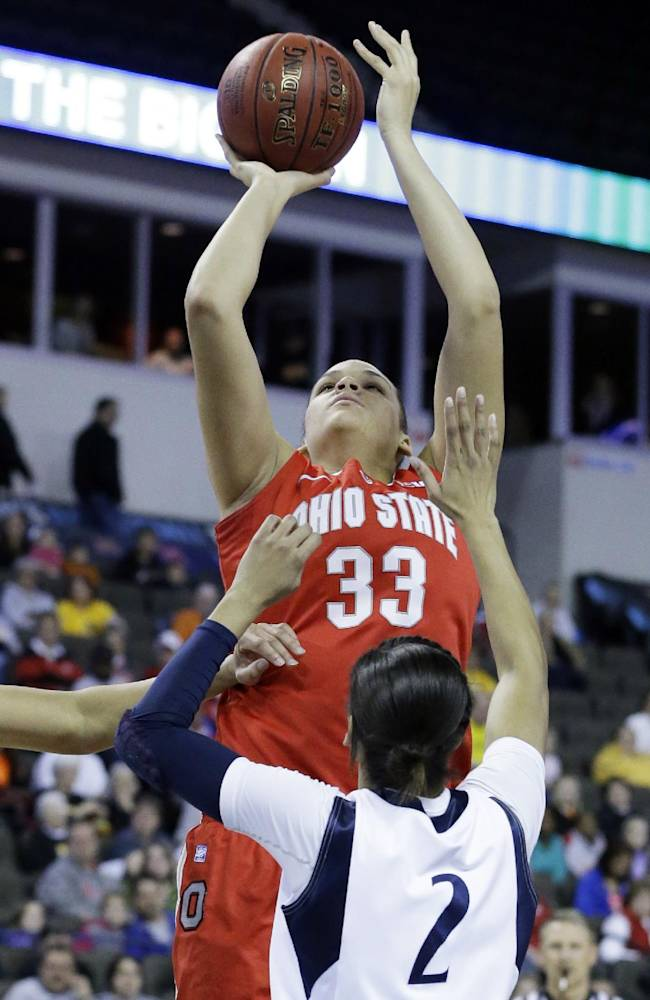 In this March 8, 2013 file photo, Ohio State center Ashley Adams (33) goes up for a shot against Penn State guard Dara Taylor (2) during the first half of an NCAA women's college basketball game at the Big Ten Conference tournament in Hoffman Estates, Ill. After losing shooting star Tayler Hill's 21 points a game, Adams must contribute at the offensive end this season