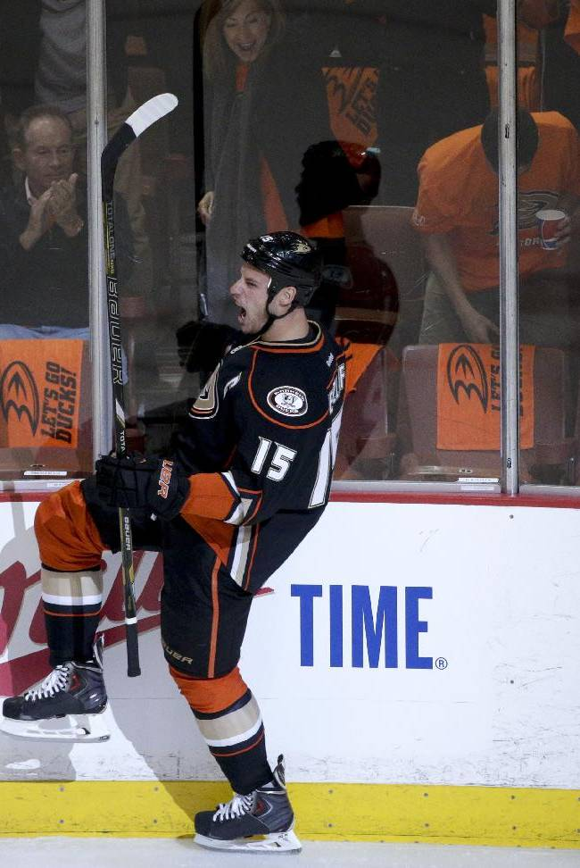 Anaheim Ducks' Ryan Getzlaf celebrates his goal against the Dallas Stars during the first period in Game 1 of the first-round NHL hockey Stanley Cup playoff series on Wednesday, April 16, 2014, in Anaheim, Calif