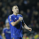 Chelsea's captain John Terry acknowledges the fans as he celebrates after the final whistle of the English FA Cup fourth round soccer match between Milton Keynes Dons and Chelsea at Stadium mk in Milton Keynes, England, Sunday, Jan. 31, 2016. Chelsea