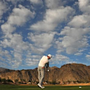 Jan 23, 2015; La Quinta, CA, USA; Martin Laird practices on the driving range before the second round of the Humana Challenge at PGA West - Arnold Palmer Private Course.  Jake Roth-USA TODAY Sports