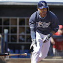 Tampa Bay Rays' Desmond Jennings runs toward first as he flies out on a pitch from Minnesota Twins starter Ricky Nolasco during the first inning of an exhibition baseball game, Sunday, March 2, 2014, in Port Charlotte, Fla The Associated Press