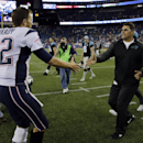 New England Patriots quarterback Tom Brady (12) shakes hands with Carolina Panthers head coach Ron Rivera after an NFL preseason football game Friday, Aug. 22, 2014, in Foxborough, Mass. The Patriots won 30-7 The Associated Press