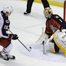 Columbus Blue Jackets center Ryan Johansen (19) watches after scoring the game winning goal against Florida Panthers goalie Roberto Luongo (1) in a shootout of an NHL hockey game, Thursday, Dec. 4, 2014, in Sunrise, Fla. The Columbus Blue Jackets defeate